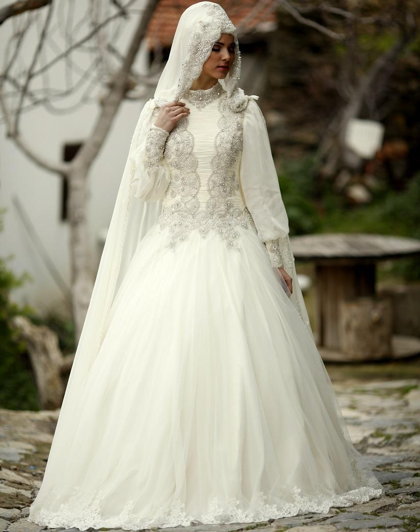 luxury muslim wedding dresses with wraps veil crystal beads hijab