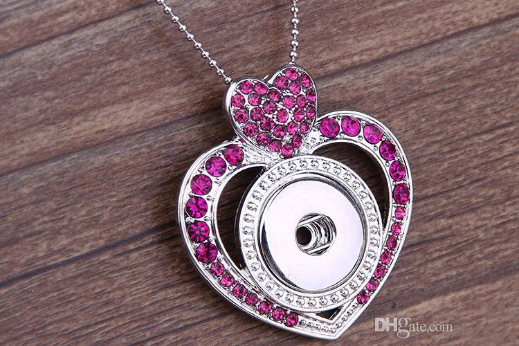 Mix 4 Styles Crystal Jewelry charms Pendant Flower Heart necklace Snap Noosa DIY Jewelry Valentine,s day gift with Bead chain 20pcs/lot