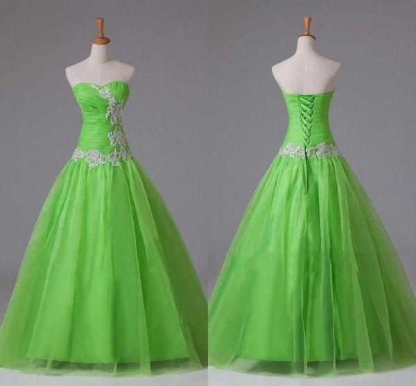 Real Sample Apple Green Prom Dresses A Line Lime Corset Long Floor Length Lace Appliques Cheap High Quality Quinceanera Gown