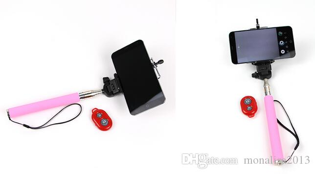 Uzatılabilir Öz Özçekim Sopa El Mono + Klip Tutucu + Bluetooth Kamera Deklanşör Uzaktan Kumanda iphone Samsung 3 in 1 kitleri