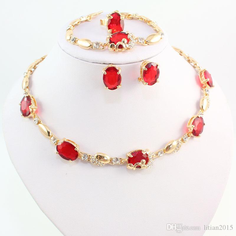 Frauen 18K Gold überzogene Schmucksachen stellt neue Art- und Weiseroten Österreich-Kristallrhinestone-Hochzeits-Zusatz-Dubai-Halsketten-Satz ein