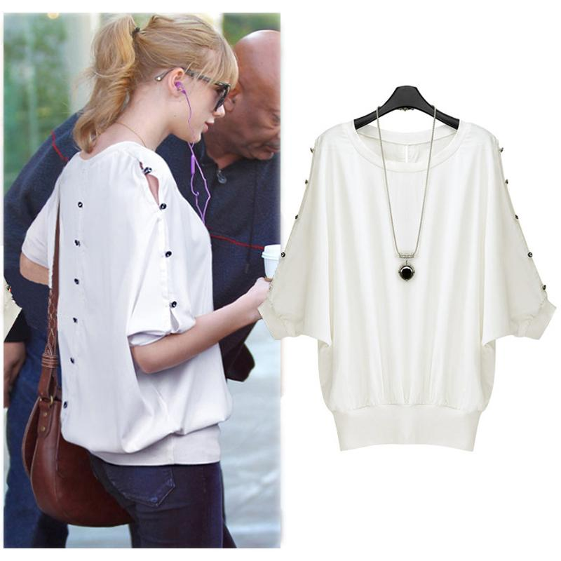 2015 Women Europe High Street Blouse Batwing Sleeve Button T Shirt ...