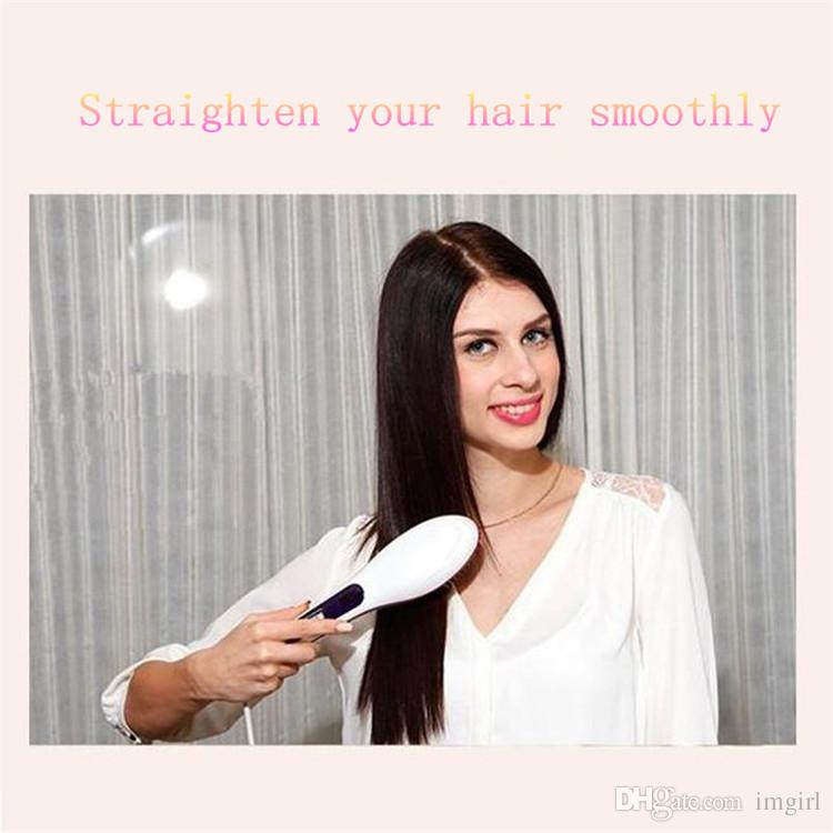 Big wholesale Beautiful Star White Pink Straightening Irons Come With LED Display Electric Straight Hair Comb Brush with Black Box