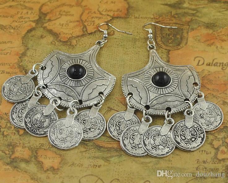Déclaration Tribal Boucles d'Oreilles Bijoux Ethniques Vintage Argent Grand Noir Perles Boucles D'Oreilles Gypsy Coin Boucle D'oreille