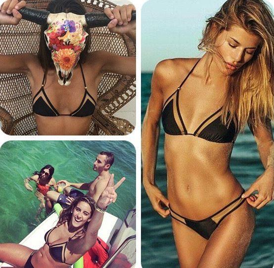 2016 new triangular mesh sexy bikini bikini ladies swimwear hot sell swimwear female foreign trade