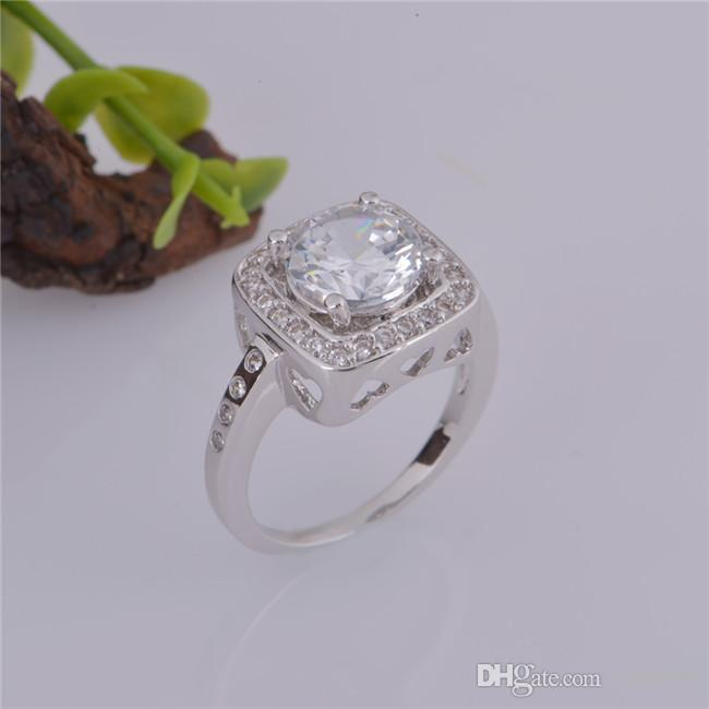 2015 new design 925 sterling swiss CZ Diamond Wedding Ring Platinum Plated Top quality fashion jewelry