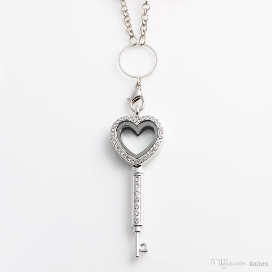 !! Key Shape Heart Magnetic Glass Floating Locket Floating Charm Locket with Rhinestones Chains Included You Can Choose Color FL55