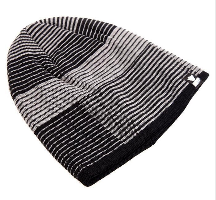 Мода Мужчины Женщины Трикотажные Hat Уличная Stripes Спорт Hat Зима Осень Толстые Теплая лыжную шапочку Спортивная бархатных Три цвета