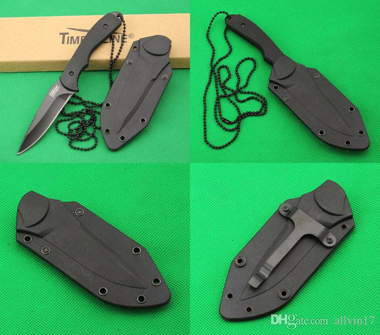China made USA Timberl Straight knife, 5Cr13Mov 56HRC Blade, Black Handle, Outdoor camping hiking Survival Fixed blade knife knives