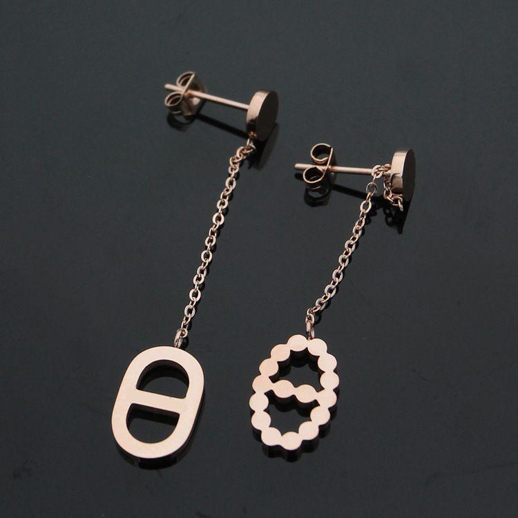 Fashion hot sale H earrings jewelry pierced Japanese pierced H pig nose earrings 18K rose gold ladies earrings