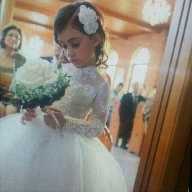 사랑스러운 결혼식 파티 꽃 소녀 드레스 높은 목 긴 소매 공주 appliques 레이스 꽃 여자의 드레스 아이들 공식 착용