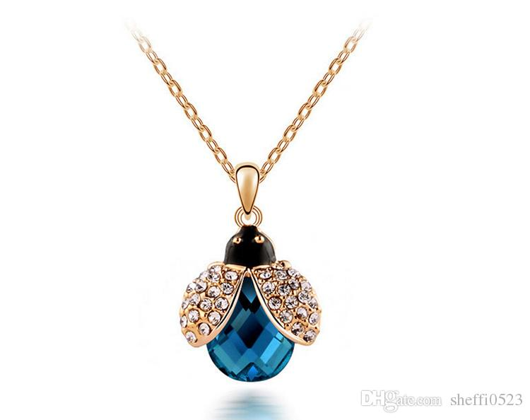 Cute Beetle Necklace Earrings Sets South Korean Beautiful Pendant Jewelry Sets For Women Fashion Crystal Jewelry 4006