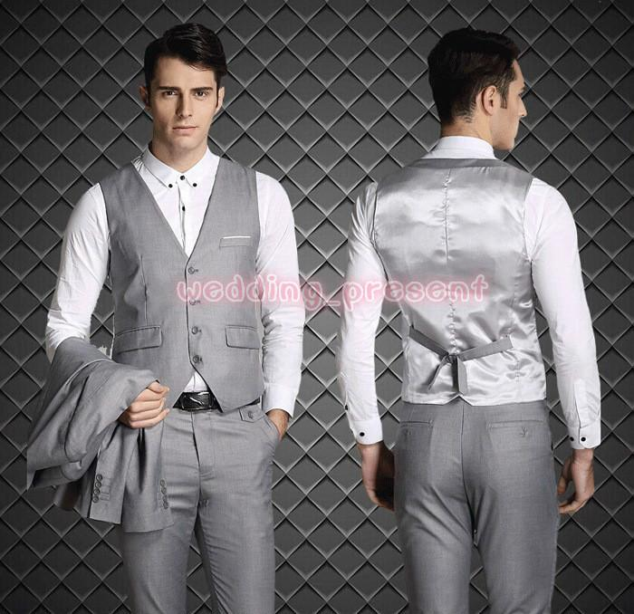 2015 Fashion Slim Fit Groom Tuxedos Dark Blue Custom Made Groomsmen Best Man Men Wedding Suits Prom Tuxedos  Jacket+Pants+Vest+Tie+Hanky