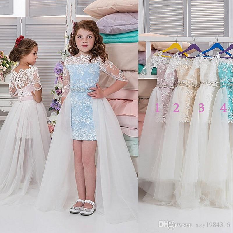 f847ea6edf77a Lace High Low Flower Girl Dresses With Tulle Over Skirt Bateau Half Sleeves  Beaded Birthday Party Dress Fairy Princess Girls Pageant Dress White Dress  For ...