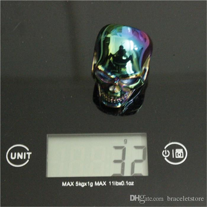 Size 8-15 Band Party Polishing Big Skull Ring 316L Stainless Steel Cool Fashion Men Boy Colorful Biker Skull Ring