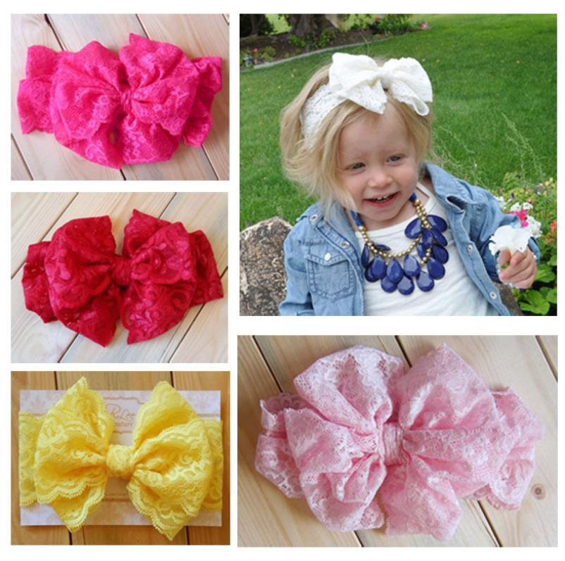 Baby Girls Kids Lace Headbands Bow Headwrap Elastic Bow Headbands Mix baby headband Vintage Head Wrap Childrens Hair Accessories 0256