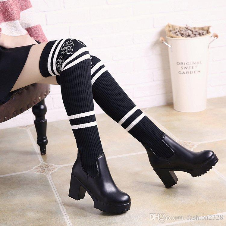 c3da3687efe5 2017 New Winter Martin Boots Sexy Over Knee Chunky Heel Shoes Women S  Stretch Wool Stockings Boots Thigh High Socks Boots Mens Shoes Mens Boots  From ...