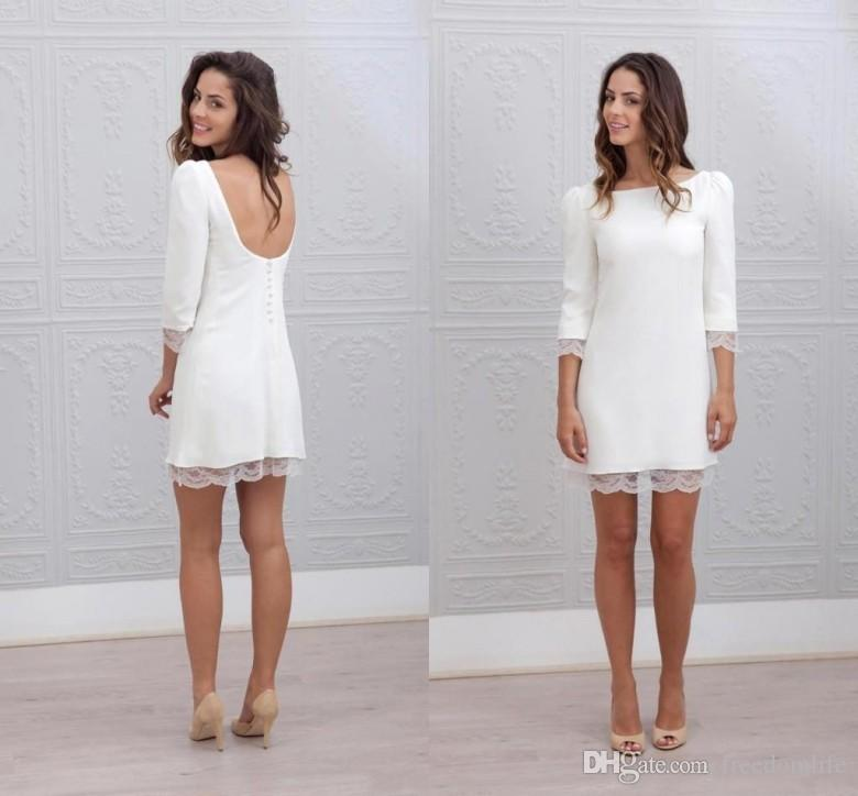 Elegant Simple Short Fitted Wedding Dresses With 3/4 Long Sleeves ...