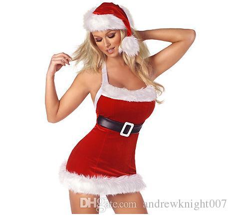Горячие Продажи Косплей Рождество Платье Партии Женщин Подарок Сексуальная Юбка Рождество Шляпа Hollween Дамы Платье Санта-Клауса Костюмы Свободный Размер