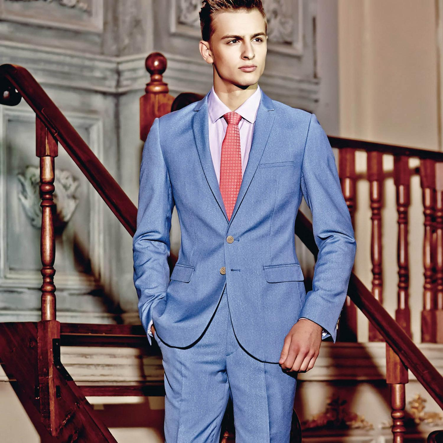 2015 Fashion Light Blue Groom Suits Business Tuxedos Peak