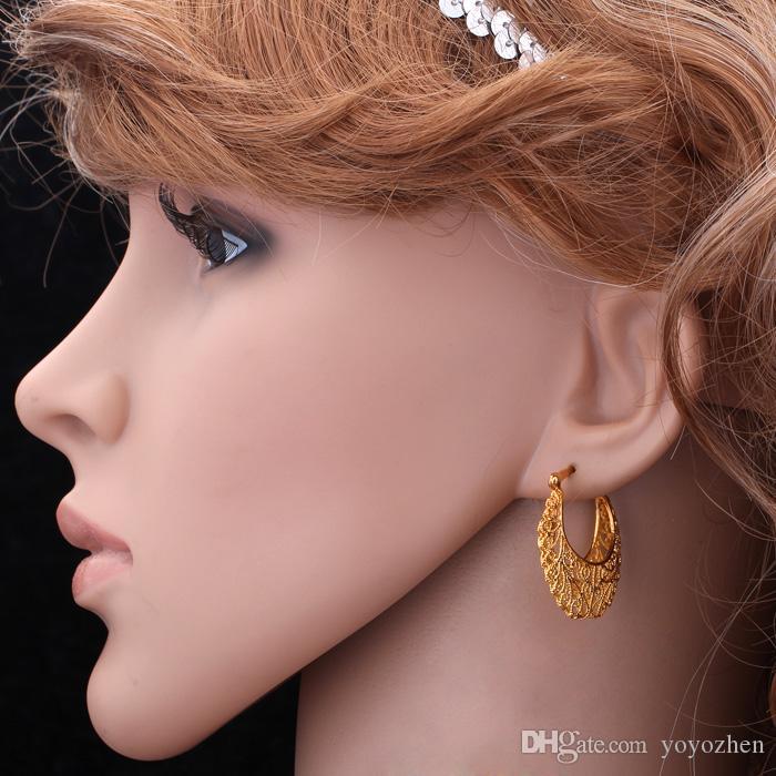 Varmt objekt 18k riktigt guldpläterade ihåliga blommor hoop örhängen basketkorgar örhängen mode smycken för kvinnor grossist