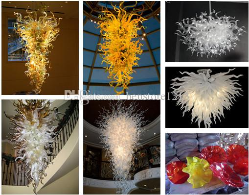 Hand Blown Glass Art Chandelier Air Shipping 100% Mouth Blown LED Colorful Artistic Hanging Chandelier Wedding Decoration