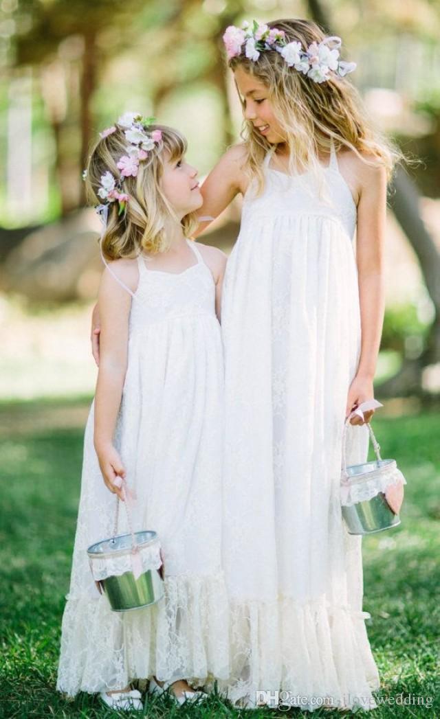 2015 Uzun Plaj Dantel Düğün Çiçek Kız Elbise A-Line Halter Backless Beyaz Dantel Küçük Kız Birdal Elbise Prenses Kız Elbise