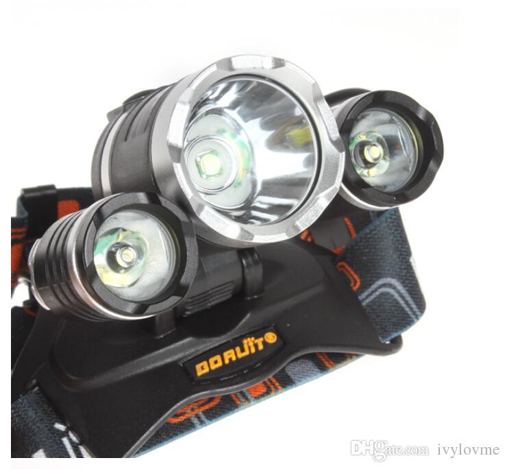 venta caliente 5000LM del CREE XML T6 + 2R5 LED faro de la luz de la cabeza de la lámpara de 4 modos de la antorcha del cargador + EU / US para la pesca Luces
