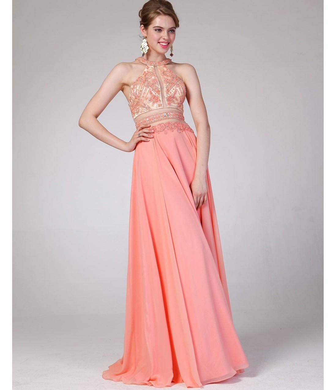 Peach Long Chiffon Prom Dresses A Line Halter Beaded Party Dress ...
