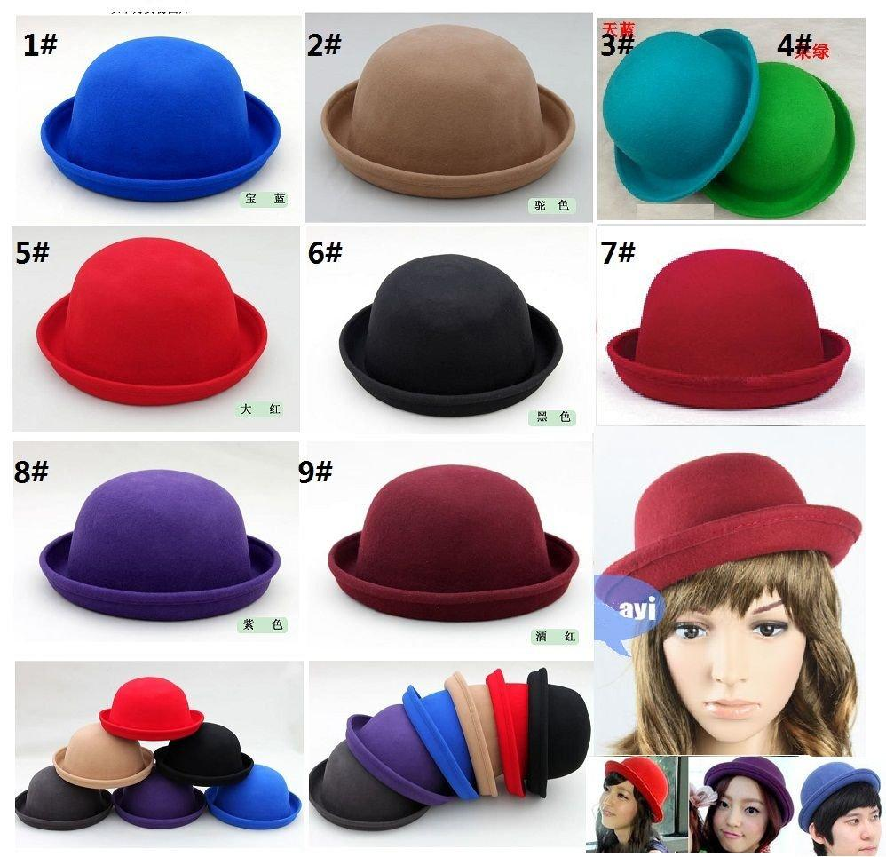 15f2949ae 100%wool Bowler hats /suit for kids /women/men---Hat perimeter :about  56--60cm /can wholesale mix color EMS/DHL free shipping