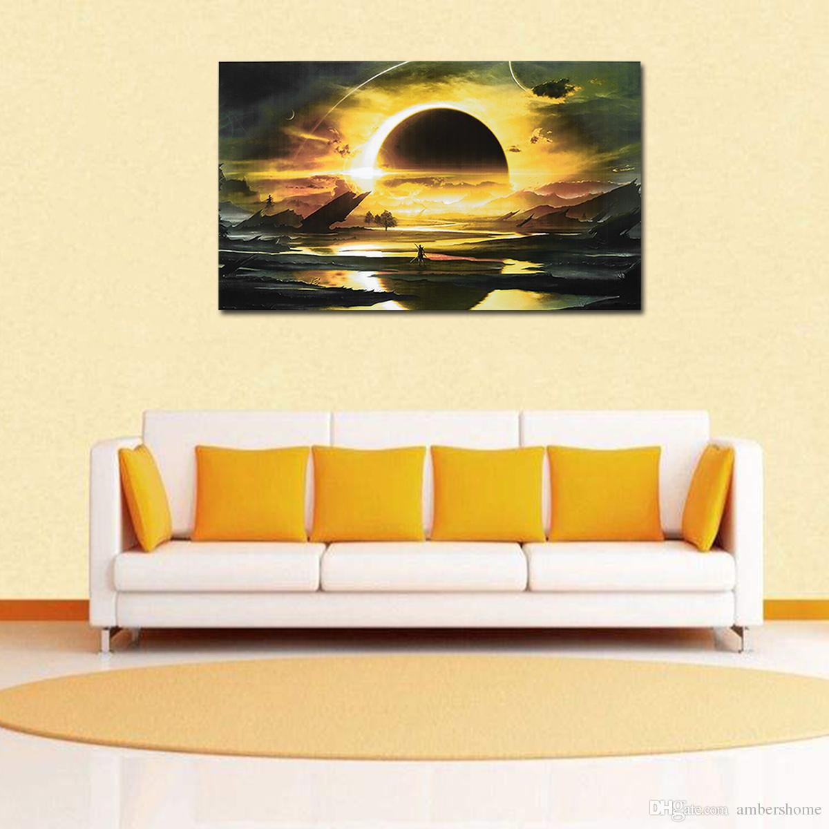 2018 Simple Black Circle Hand Painted Painting Canvas Art Decorative ...