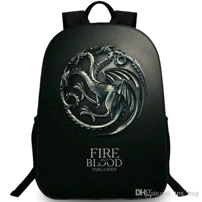adcfd3cefa Fire And Blood Backpack Game Of Thrones Daypack House Targaryen Schoolbag  Leisure Rucksack Sport School Bag Outdoor Day Pack Black Leather Backpack  ...
