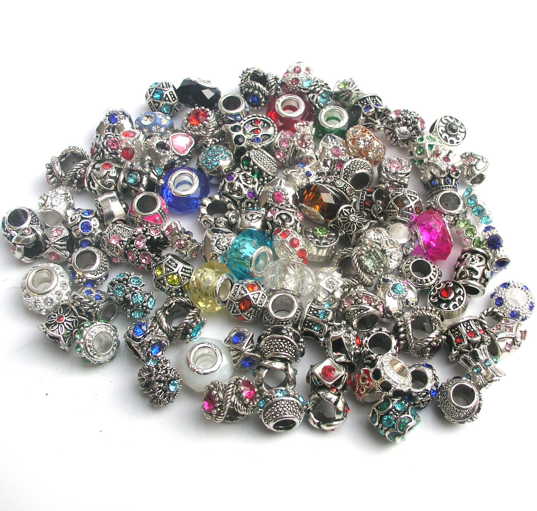 mix style colorful rhinestone metal big hole beads & crystal glass charms fit European DIY bracelet jewelry DIY