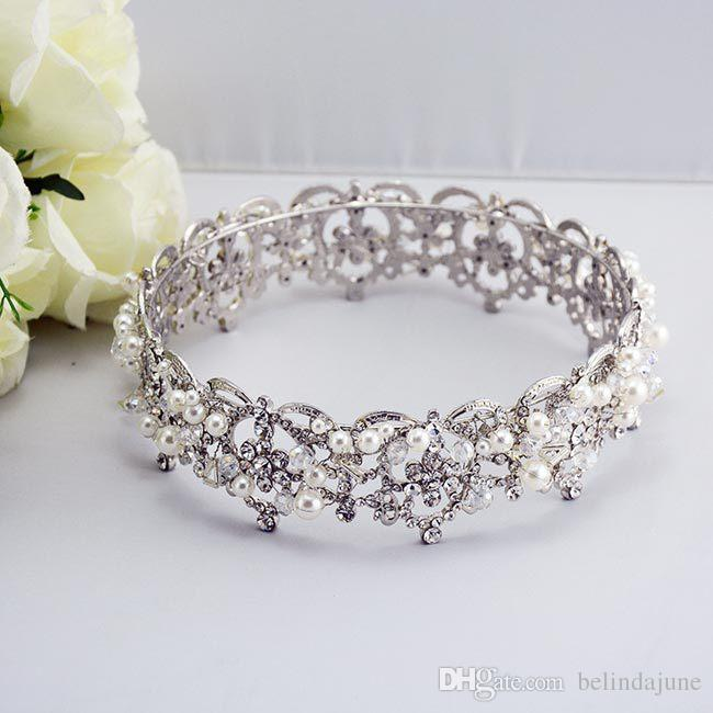 Luxuoso Pérola De Cristal Tiaras De Cabelo De Noiva Para O Casamento de Noiva Acessórios de Jóias Mulheres Nupcial Headwear Para Festa de Casamento Coroa Chapelaria