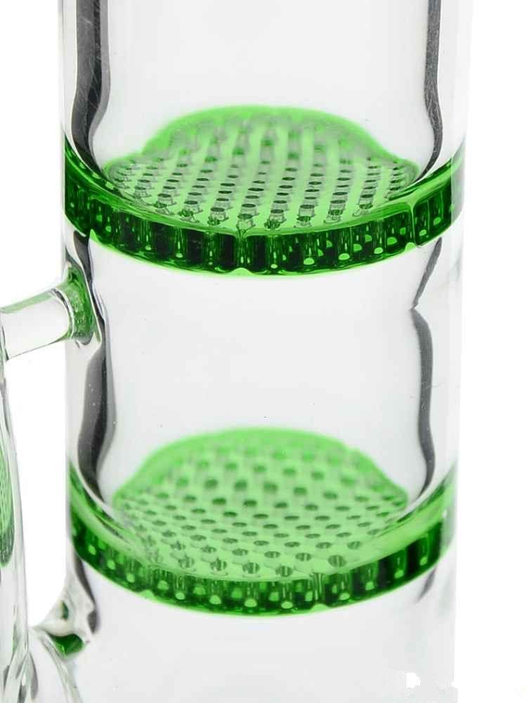"Honeycomb bong Glass Bong ""Tasty Tanya"" morden glass water pipe straight tube green double honeycomb percolators"