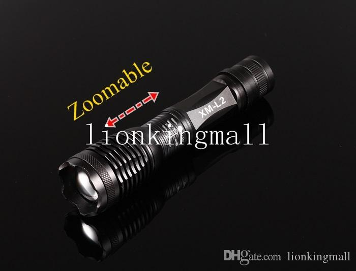 USA EU Hot Sel E007 CREE XM-L2 2200Lumens cree led Torch Zoomable cree LED Flashlight Torch For 3 x AAA or 1x18650 battery