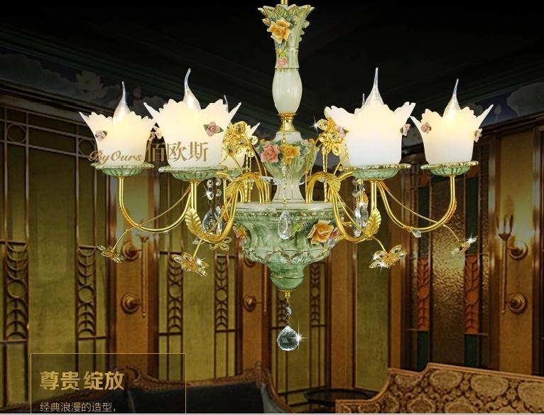 French Chandeliers Six Brief Continental Ceramic Crystal Chandelier Living Room Light Garden Flowers Bedroom Lamps