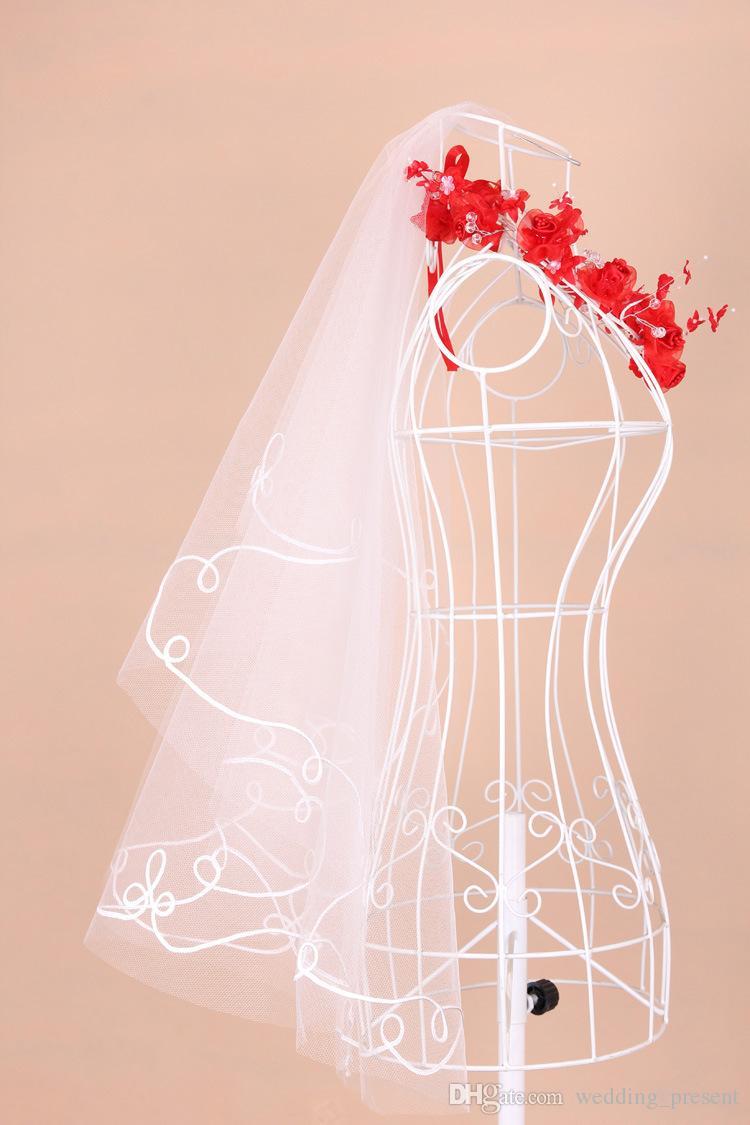 2015 Hot Cheap Bridal Wedding Veils One Layer Simple White Ivory Bridal Veils Appliques Tulle Wedding Veil
