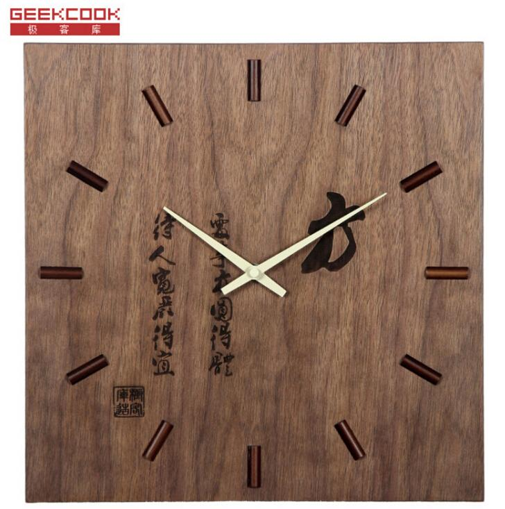 Living Room Wall Clocks geekcook square wood wall clock 13 inch 34cm home decorative wall