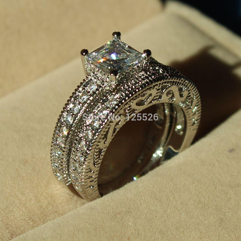 cz engagement sterling rings bridal carat ring bling antique jewelry silver vr