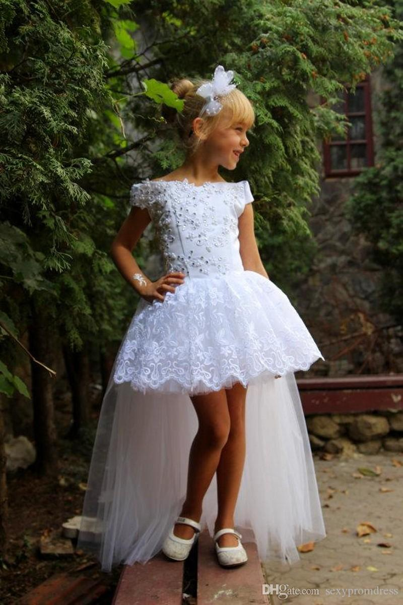 White Lace High Low Girls Pageant Dresses 2016 Off Shoulder Applique Beads Tulle Flower Girl Dresses For Wedding Kids Birthday Party Gowns