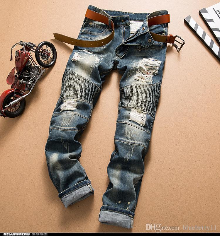 رجال موضة جديدة جينز كول الرجال المتعثرة ممزق جينز مصمم أزياء مستقيم للدراجات النارية السائق جينز السببية سروال جينز الشارع الشهير ستايل