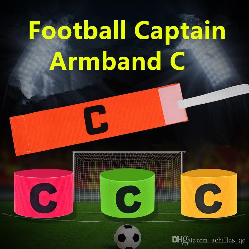 Haute qualité Football en plein air Football Flexible Sports Réglable Lecteur Bandes Fluorescent Capitaine Brassard Coloré