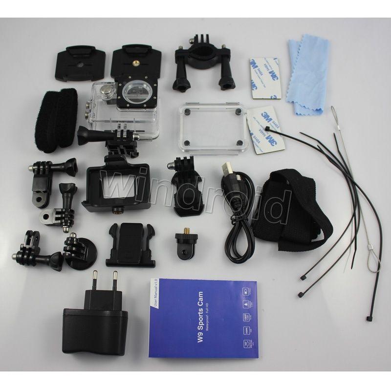 W9 Sport video camera full hd 1080p 170 degree Waterproof helmet sports camera DV Portable mini digital action camera
