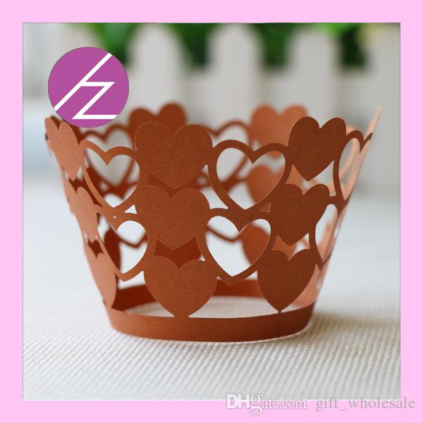 2015 Laser Cut Lace Heart Cupcake Wrappers /Wraps Wedding Party Birthday Baby Shower Decoration