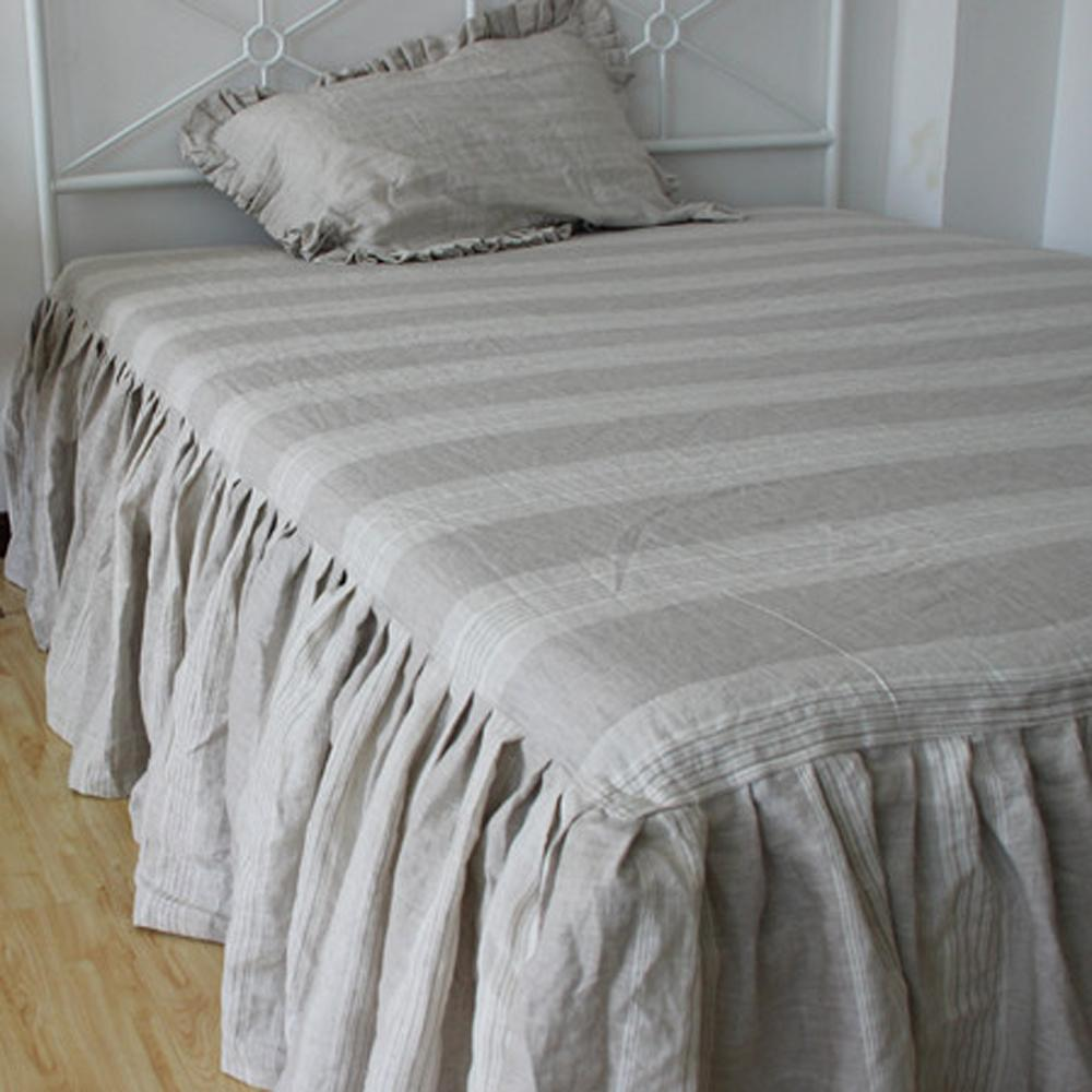 Wholesale Grey White Real Washed Striped French Linen Bed Skirt Dust Ruffle  Skirting Pre 100% Flax Linen Bedding Bedspread Bed Cover Dust Ruffle For  Crib ...