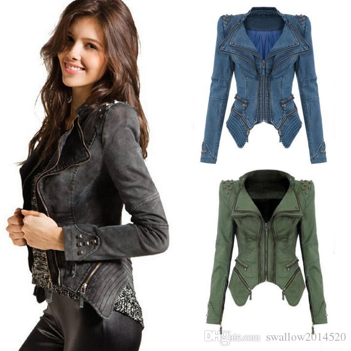 Sharp Power Studded Shoulder Notched Lapel Women Denim Jeans Tuxedo Coat Blazer Jacket S-XXL 3 colores