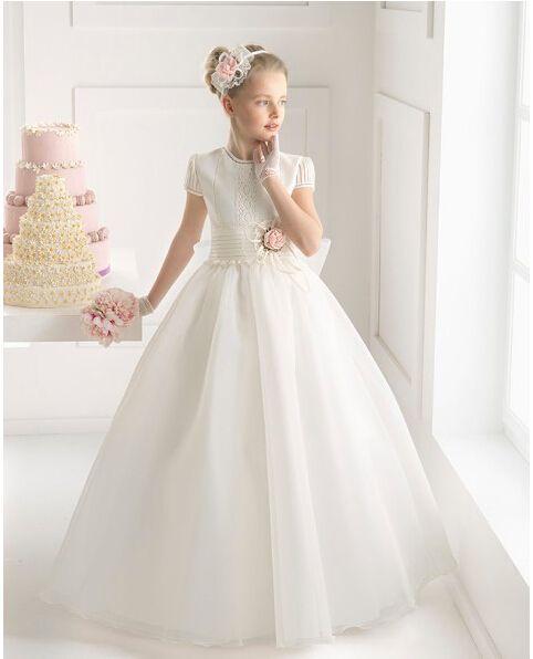 Barato bebé muchachas de flor vestidos de manga corta de la cremallera de longitud de bola del Organza del vestido de la flor por encargo de las niñas Vestidos