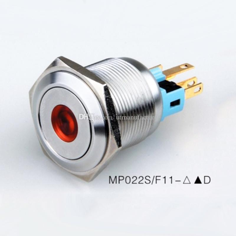 22 millimetri a scatto ON OFF Pulsante impermeabile IP67 LED 12V 24V illuminato metallo di anti vandalo interruttore momentaneo