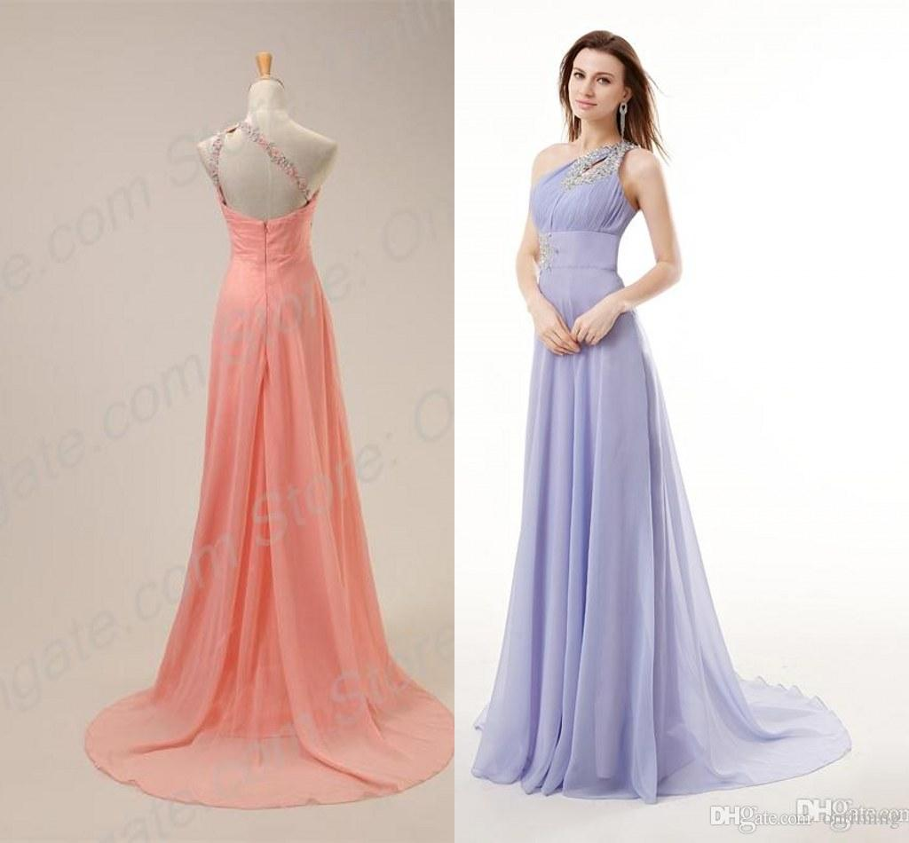 In stock one shoulder chiffon bridesmaid dresses 2015 hot sale in stock one shoulder chiffon bridesmaid dresses 2015 hot sale backless beads ruffle pink long fast delivery wedding guest gown dress nm6490 bridesmaid ombrellifo Image collections